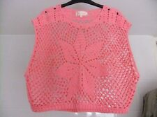 New Look Crochet Style Top Batwing Size S Pink Oversized Slouchy Wide Arm Holes
