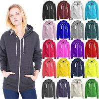 New Girls Ladies Zip Up Sweatshirt Hooded Plus Size Hoodie Coat Jacket Top S-8XL