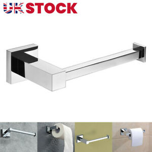 Square Wall Mounted Toilet Roll Holder Chrome Tissue Paper Stand Bathroom Bar
