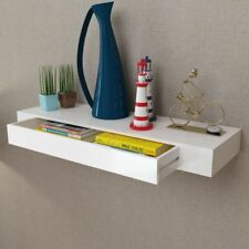 Floating Wall Display Shelf 1 Drawer Book DVD Storage White 80 Cm Home Office