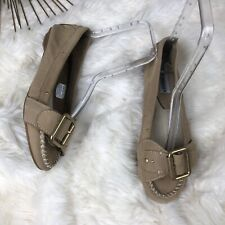 Steve Madden Women's Nanccy Leather Suede Buckle Loafers Size 7 Beige