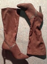 Maripe' Brown Pull On Stretch Boots Womens Size 9