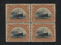 1901 Pan American 10c Sc 299 MH OG block of 4 VF fresh & vibrant