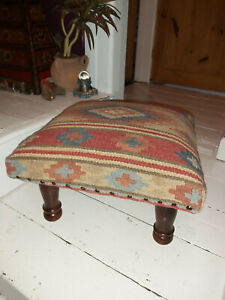HANDMADE INDIAN KASHI KILIM FOOTSTOOL, WOOL/COTTON
