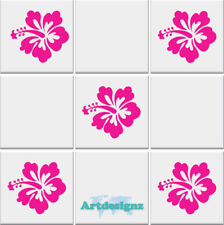 HIBISCUS Tile Stickers Kitchen Bathroom Flowers Vinyl Wall Art Car Decal AD32