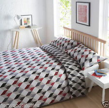 Quilt Duvet Cover & Pillowcase Bedding Bed Set Modern Geometric Contemporary Single Grey UNO Slate
