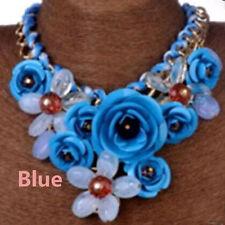 Bib Statement Chain Flower Choker Crystal Chunky Necklace Blue