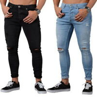 Men Denim Skinny Stretch Pants Distressed Ripped Slim Fit Jeans Long Trousers US