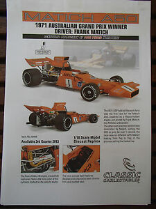 1:18 CLASSIC CARLECTABLES BROCHURE MATICH A50 71 AGP WINNER FRANK MATICH 1 ONLY