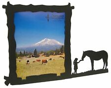 Girl Feeding Horse Black Metal 8x10 Vertical Picture Frame