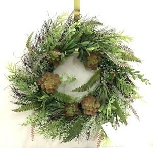 "Succulent Fern Mixed Twig Wreath~Two Tone Green,Burgundy~24""~PVC/Artificial"