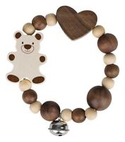 Heimess TOUCH RING RATTLE ELASTIC BEAR, NATURE Baby Wooden Toy BN