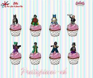 Lego Batman 24x Stand-Up Pre-Cut Wafer Paper Cup cake Toppers