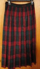 Pendleton USA Vintage Dark Red & Green Pleated Wool Skirt, Size 6