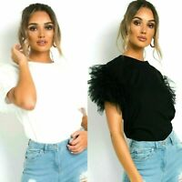 Ladies Puff Frill Mesh Tulle Scoop Neck Short Sleeve Top Women Party Tee T-Shirt