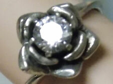 .60ct white sapphire antique 925 sterling silver flower ring size 6 USA made