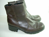 WOMENS BROWN LEATHER CALF HIGH BOOTS HEELS CAREER COMFORT SHOES SIZE 7.5 M