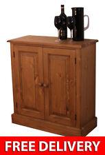 """Hall Cupboard Solid Pine Shallow 2 Door 2'6"""" Sideboard / Dresser Base  - Waxed"""