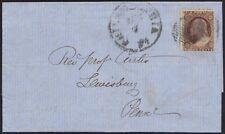 US 1858 3¢ ORANGE BROWN OR PLUM BROWN TYPE III Sc #26 ON FOLDED LTR PHILADELPHIA