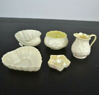 Lot of 5 Belleek Trinket Holders Bowls Shell / Star / Heart Bowl / Creamer