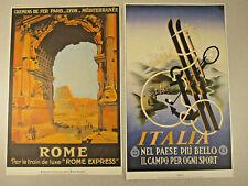 Vintage ITALY Poster LOT Travel Lithograph Italia & Rome Express RaRe Train Art