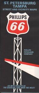 1966 Phillips 66 Road Map: St. Petersburg Tampa NOS