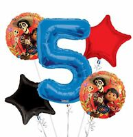 Disney Coco Jumbo 5th Birthday Party Foil Mylar Balloon Bouquet 5 pieces Set