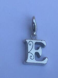 Brighton retired Chic Alpha initial E silver clip on charm