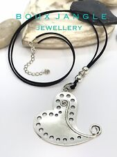 "Lagenlook Boho Statement Heart Necklace 36"" Long Chunky Large Heart Pendant"