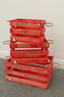 Merry Christmas Red Vintage Style Apple Crate Wooden Box Display