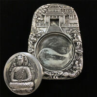 Chinese Old Tibet Silver carved Amitabha Buddha Statue desk Ink stone inkslab