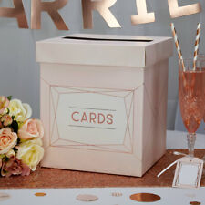 Geo Blush Rose Gold & Pink Wedding Card Post Box