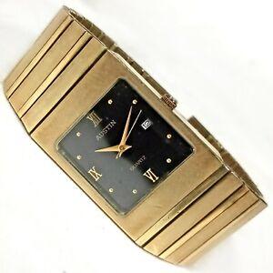 Vintage Austin Date Dress Watch Gold Black Rectangle 25x32mm Mens