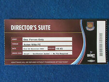 West Ham United V ASTON VILLA - 4/11/2009-direttore della suite TICKET