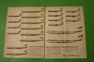 1970 Original Advertising Vintage Aer Lingus Irish Airlines Ireland Fleet Aerial