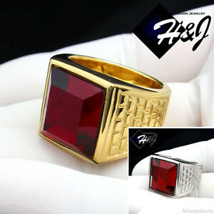 MEN's Stainless Steel Silver/Gold Ruby Ring Size 8-12*R81