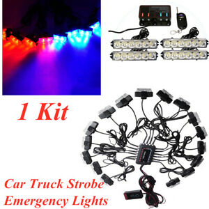 32 LED Car Truck Strobe Emergency Lights Bars Deck Dash Grille Red Blue 1Set