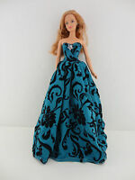 Brilliant Blue Green Gown with Black Velvet Accents on the Lace Made to Fit the