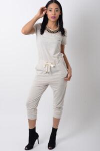 Womens Jumpsuit Ladies Beige Jersey Trousers Sheer mesh Jewellery Playsuit