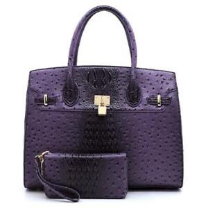 💖Purple Ostrich/Crocodile Embossed Faux Leather Satchel Wallet Set - XLarge NWT