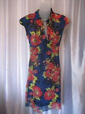 Axara Paris Junior Size Red/Black/Blue Floral Cap Sleeve Knee Dress Sz S NWNT