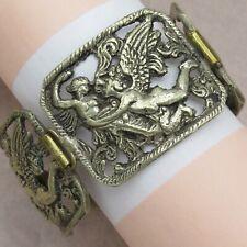 Vtg 1930's - 40's Victorian Renaissance Revival Silver Angel Cherub Bracelet
