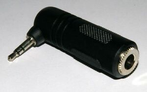"""6.35mm (1/4"""") Stereo Jack Socket to Stereo 3.5mm Jack Plug Right Angled Adaptor"""