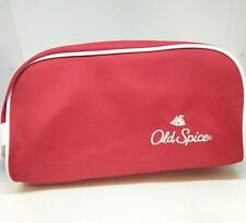 old spice red nylon shaving travel toiletry bag - Vintage