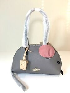 NWT Kate Spade Cat's Meow Mouse Handbag Saffiano Leather Gray Purse PXRU5779