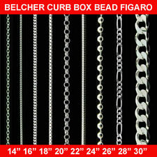 """100% GENUINE 925 STERLING SILVER CHAIN NECKLACE 14""""- 30'' CURB MEN WOMEN SOLID"""