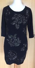 Monsoon Ladies Dress 8 10 S Jumper Sequins Party Christmas Knitted Black Angora