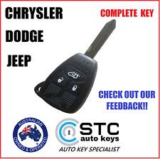 3 BUTTON JEEP CHRYSLER DODGE REMOTE TRANSPONDER CHIP KEY COMPLETE FOB KEYLESS
