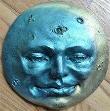 "Mask Style 8"" Moon Face Wall Sculpture in Gold, Blue Metallic Color, Claybraven"