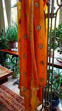 Vintage Orange Dupatta Scarf Georgette with Goldwork Embroidery